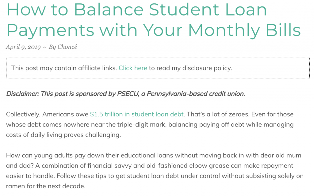 make money with sponsored posts my debt epiphany