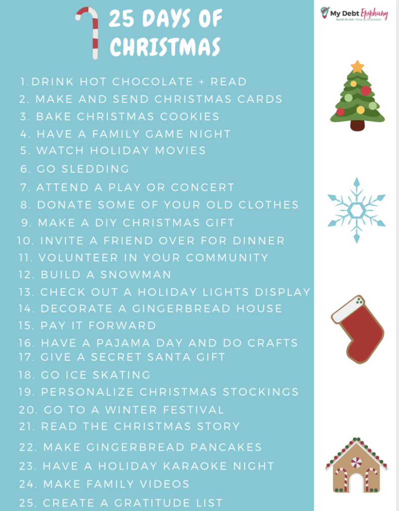25 days of Christmas challenge cheap christmas activities